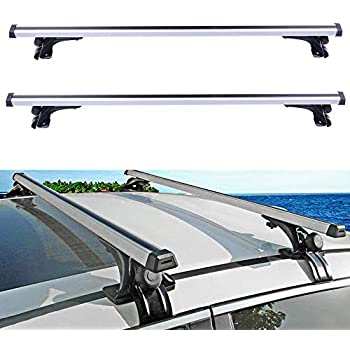 AUTOMUTO Adjustable Cross Bars fit for 2006 2007 2008 2009 2010 2011 2012 2013 2014 2015 2016 2017 Ford Focus//Fusion//Mustang Aluminum Sliver Roof Top Bar Luggage Carrier w//3 Kinds Clamp