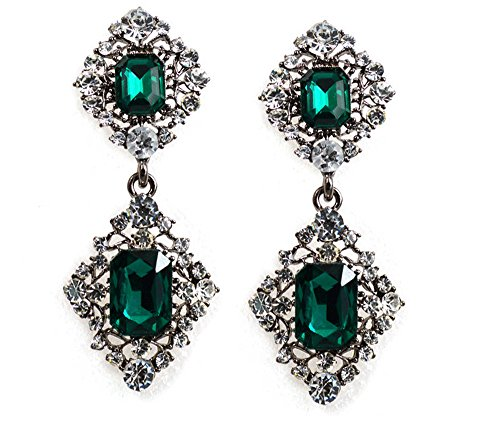 Vintage 1928 Costume Jewelry (Art Deco Antique Vintage Style Emerald and Rhinestone Dangle Earrings)