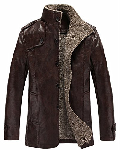 Cheering Vintage Stand Collar Pu Leather Jacket For Men