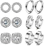 Hanpabum 6 Pairs Hoop Stud Earrings Round Square CZ Simulated Diamond Halo Cartilage Stud Stainless Steel Smal