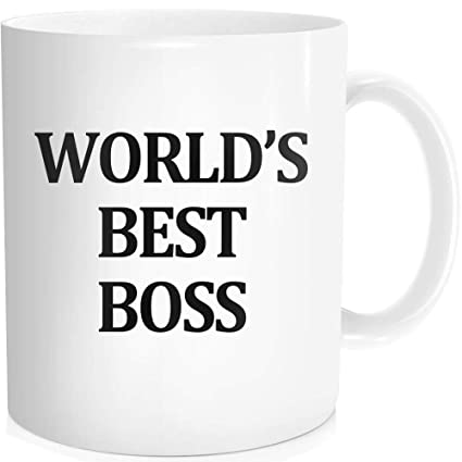 88ca27be6de Funny Coffee Mug with Inspirational Quote For Men Women - World's Best Boss  The Office Mug
