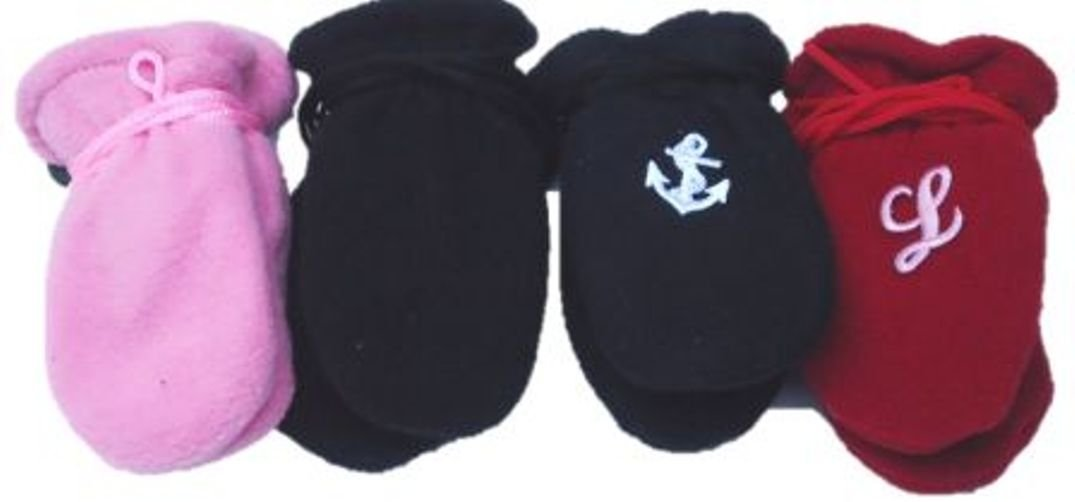 Set of Four Pairs of One Size Very Warm Fleece Mittens for Infants Ages 0-6 Months