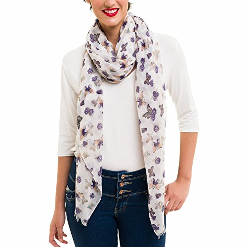 Scarf for Women Lightweight Butterfly Fashion Fall Winter Scarves Shawl Wraps by Melifluos (SS45)
