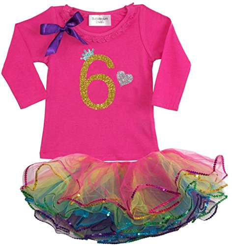 Bubblegum Divas Little Girls' 6th Birthday Rainbow Tutu Outfit Long Sleeve 6X