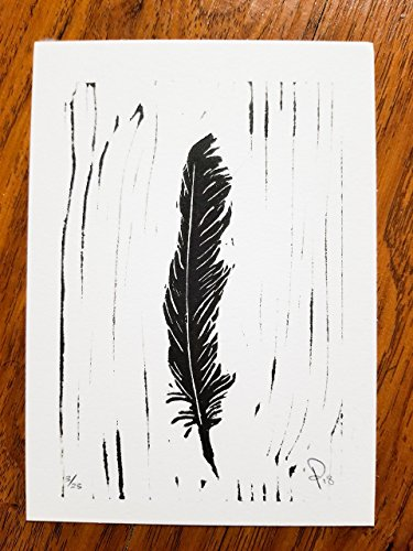 5 x 7 Black Ink Art Print - Crow Feather - Limited Edition Original Handcrafted Linoleum Cut Art Print (Unframed)