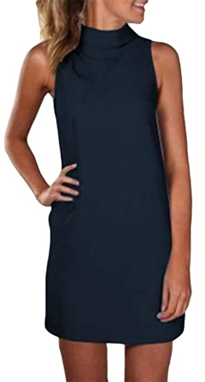 6a8ccb6d349 ONTBYB Women's Solid Mock Tunic Turtleneck Sleeveless Slim Top Shirt Dress  1 XXS