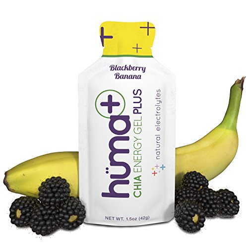 Huma Plus – Chia Energy Gel, BlackBerry Banana, 12 Gels – Natural Electrolyte Enhanced Energy Gel
