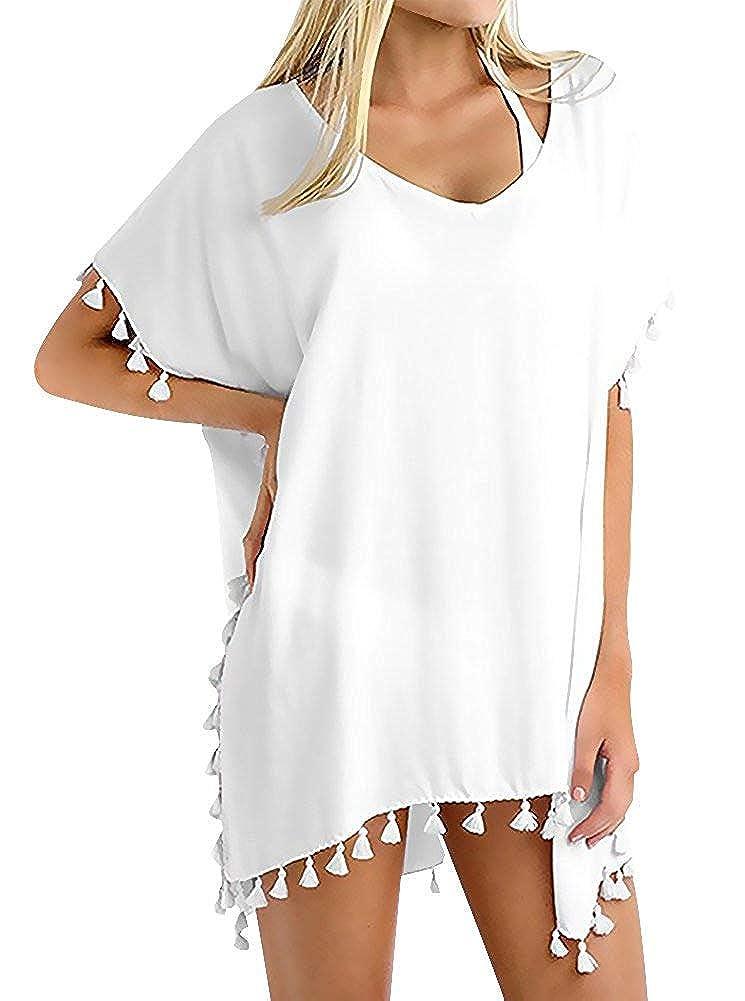 Chalier Damen Strandponcho Sommer Bikini Badeanzug Cover Up Strandkleid mit Quasten MEHRWEG