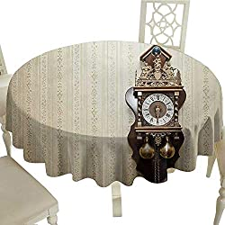 Clock Tablecloth on Round Table D 54 an Antique Style Wood Carving Clock with Roman Numerals Hanging on The Wall Design Tablecloth Printing Brown and Tan