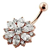 Rose Gold Plated Clear CZ Stone Double Layer Flower 925 Sterling Silver Belly Button Piercing Ring