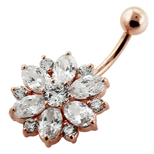 Rose Gold Plated Clear CZ Stone Double Layer Flower 925 Sterling Silver Belly Button Piercing Ring by AtoZ Piercing (Image #3)