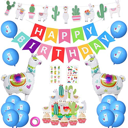 Llama Party Decorations Supplies -Llama Cactus Banner+Happy Birthday Banner+Llama and Cactus Cupcake Toppers+Big Alpaca Llama Foil Balloons+Blue Llama Balloons+Llama Cactus Tattoo Stickers (Pack01)]()