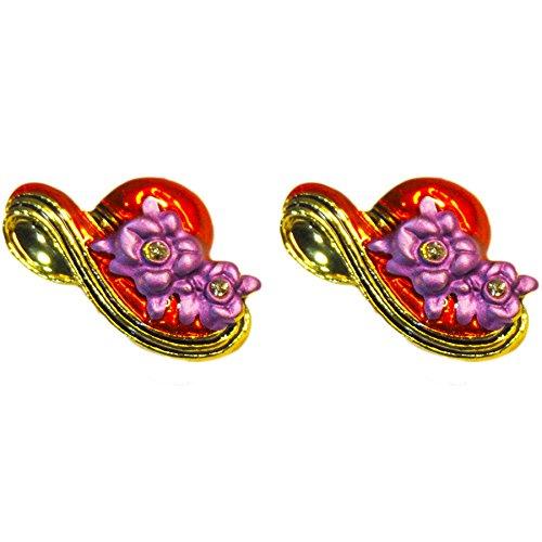 Hampton Direct Red Hat w/Purple Posies Clip On Earrings Classy Jewelry Goldtoned