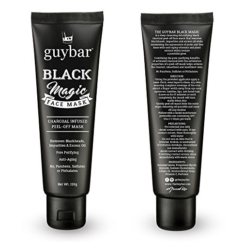 (Guybar BLACK MAGIC Charcoal Infused Peel-Off Face Mask - Removes Blackheads, Impurities & Excess Oil - Anti Aging)