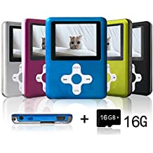 Lecmal Portable MP3/MP4 Player with 16GB Micro SD Card, Economic Multifunctional Music Player with Mini USB Port, MP3 Voice Recorder, Media Player Gift for Kids-16GB-Blue