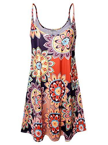 Plus Size Women's Sundress Casual Spaghetti Loose Swing Slip Summer Dress (Colorful Sun Flower,2X) (Spaghetti Strap Knit Dress)