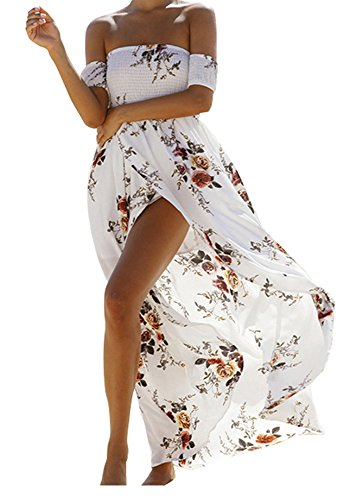 SVALIY Women Floral Off the Shoulder Split Chiffon Maxi Beach Dress Wedding Party White Medium