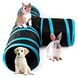 AikoPets Collapsible Pet Toy Tunnel with Ball for Cat, Puppy, Kitty, Kitten, Rabbit (Blue)