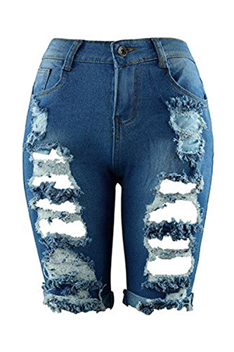 In Casual Alta Di Jeans Forti Pantaloncini Zojuyozio Da Vita Blue A Con Donna Denim Taglie Strappati 4IzFWW8Eq