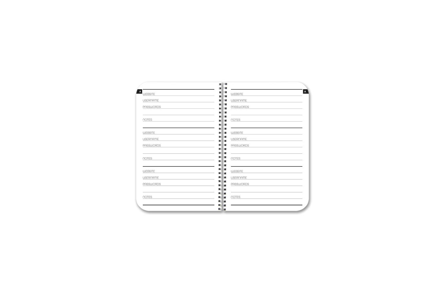 BookFactory Password Journal/Password Organizer/Password Book/Logbook/Password Keeper, 120 Pages, 3 1/2'' x 5 1/4'', Durable Thick Translucent Cover, Wire-O Binding (JOU-120-MCW-A-(Password))