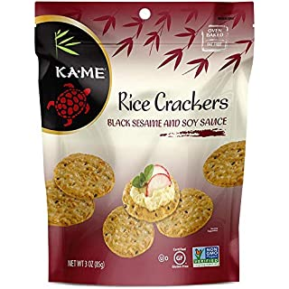 Ka-Me Gluten-Free Rice Crackers, 3.0 Oz. Pouches, 6 Pack (400404), Black Sesame & Soy Sauce, 18 Oz