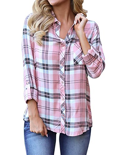 roswear Women's Casual Loose Cuffed Sleeve Plaid Button Down Shirt Pink Medium - Womens Flannel Top