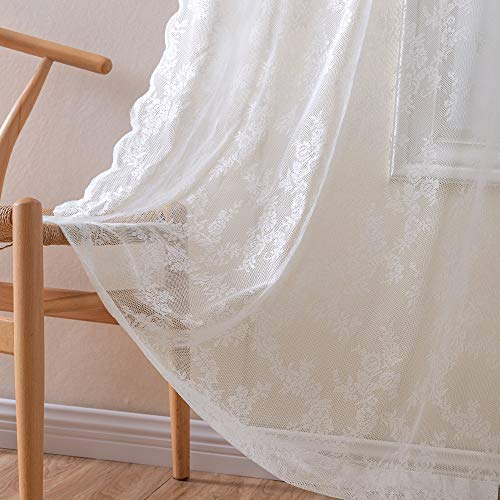 Rose Lace Sheer Curtains Window Drapes for Bedroom Living Room Grommet Retro Style Vintage to Light Filtering Airy Set of 2 Panels 63 Inch White (Sheers Lace White)