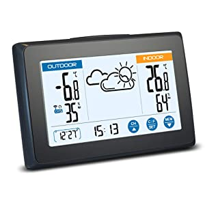 Zupora Indoor Outdoor Thermometer Wireless Digital Hygrometer with Remote Sensor, Temperature and Humidity Monitor, Time&Date, Back-Light, Touch Screen, 3 Channels, Powered by Batteries Included
