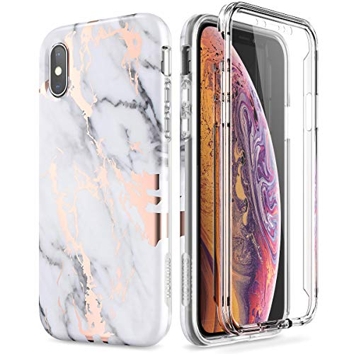 SURITCH Marble iPhone Xs Case/iPhone X Case, [Built-in Screen Protector] Full-Body Protection Hard PC Bumper + Glossy Soft TPU Rubber Gel Shockproof Cover Compatible with Apple -