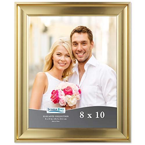 Icona Bay 8x10 Picture Frame (1 Pack, Gold), Gold Photo Frame 8 x 10, Wall Mount or Table Top, Set of 1 Elegante Collection ()