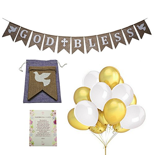 Child Card Prayer Personalized (Signature Products God Bless Burlap Rustic Banner for Baptism, Holy Communion Party Christening Decorations Wedding, Baby Shower Girls/Boys - BONUS 10 - 12'' balloons, 2 Doves, Praying Card,Gift bag)
