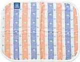 EMOOR Mini-Sized 4-Layered Anchor Stripe Gauze Blanket (25 x 20 in, Orange). Made in Japan