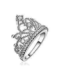 BODYA Womens Ladies Silver Plated Elegance Cubic Zirconia CZ Princess Double Crown Tiara Ring Wedding Band Diamond Ring