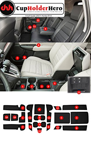 2017 Honda Cr V Ex L >> Custom Fit Cup, Door, Console Liner Accessories 2019 2018 2017 Honda CR-V CRV (Solid Black ...