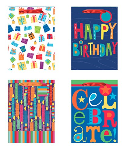 4 Jumbo Party Gift Bags, Birthday Gift Bags - Set of 4 Happy Birthday Gift Bags w/Tags & Tissue ()