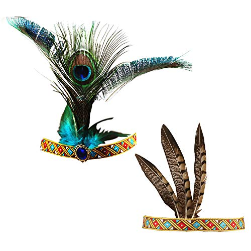 (R STAR Handmade Indian Headdress, Peacock Feather and Chicken Feather, Fashion Indiana Ethnic Native American Costume for Women Lady Girls )