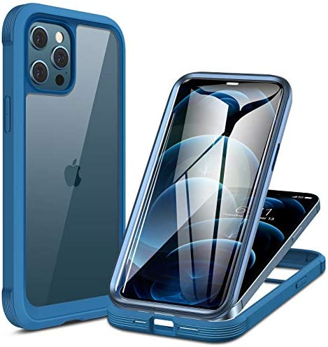 Miracase Glass+ Case for iPhone 12 Pro Max 6.7 inch, 2020 Full-Body Clear Bumper Case with Built-in 9H Tempered Glass Screen Protector for iPhone 12 Pro Max, Ocean Blue