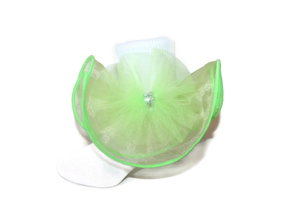 Girls White Nylon Socks with Colored Sparkle Bow & Rhinestone - Baby to Girls (9-11, Lime Green)