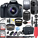 Canon EOS Rebel T6 Digital SLR Camera w/ EF-S 18-55mm IS + EF-S 75-300mm Lens Bundle includes Camera, Lenses, Bag, Filter Kit, Memory Card, Tripod, Flash, Cleaning Kit, Beach Camera Cloth and More For Sale