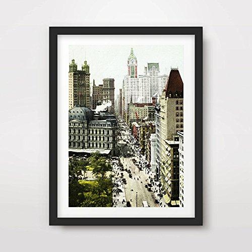 Street Scene Decor (NEW YORK CITY VINTAGE STREET SCENE CITYSCAPE ART PRINT Poster Black White Home Decor Room Interior Design Wall Picture Photo A4 A3 A2 (10 Size Options))
