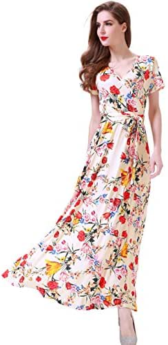Melynnco Women's Short Sleeve Faux Wrap V Neck Cute Summer Floral Maxi Dress