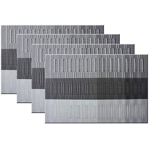 Bright Dream Placemats Easy to Clean Heat Ressietant for Dining Table Mats 12x18 inches Set of 4(Black+Gray) for $<!--$9.99-->