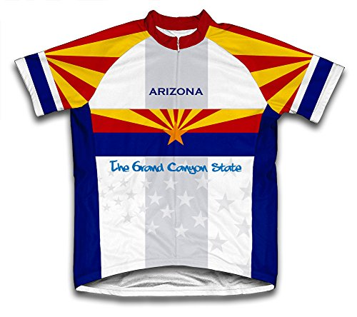 ScudoPro Arizona Flag Short Sleeve Cycling Jersey for Men - Size L Blue