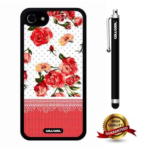 (iphone 8 Case, iphone 7 Case, Flower Case, Cowcool Ultra Thin Soft Silicone Case for Apple iphone 7 8 - Pink Lace Rose)
