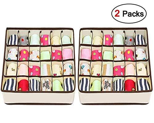Joyoldelf Calcetín Organizador de cajones Divisor 2 paquetes Organizador de ropa interior, 24 celdas Plegable Armario Armario Organizador Cajas de almacenamiento de ropa interior para almacenar calcetines, sujetadores, pañuelos, corbatas, cinturones (blanco)
