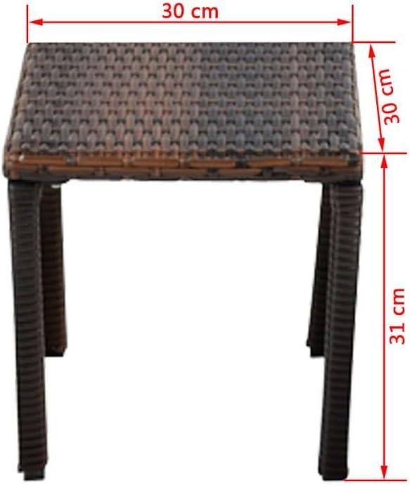 Festnight Sonnenliege Liege Rattanliege Gartenliege Polyrattan mit Tisch 3-TLG Braun