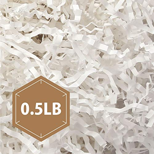 PACKHOME 0.5 LB Crinkle Cut Paper Shredded Paper Shred Filler, Premium Quality for Gift Packing and Baskets Filling (Snow White) -