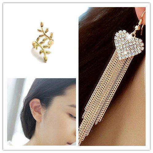 Voberry Vogue Lady Women's Party Tassels Heart Crystal Dangle Drop Long Earrings ()