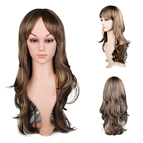 CHICVITA Sexy Human Hair Wigs Ombre Middle Part Blonde Curly Cosplay Bob Wig for Women (Caucasian Wigs)