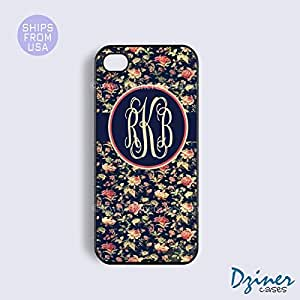 Monogram iPhone 4 4s Case - Navy Blue Floral Design iPhone Cover